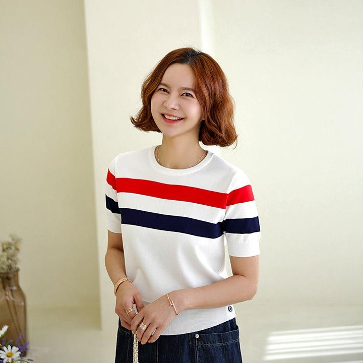 lemite-테잎라인 썸머니트♡韓國女裝上衣
