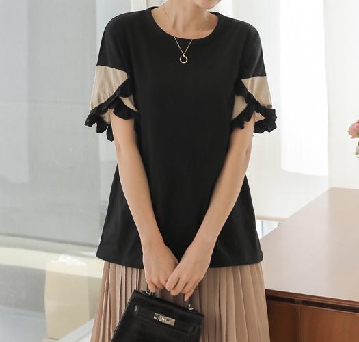 soim-[임부복*린넨프릴 티셔츠]♡韓國孕婦裝上衣