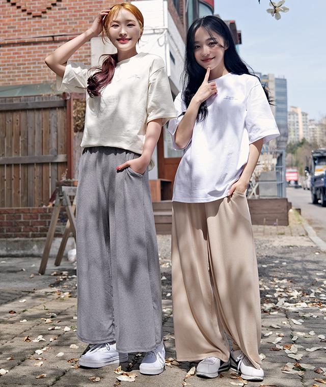 kikiko-무지편해밴딩와이드P♡韓國女裝褲