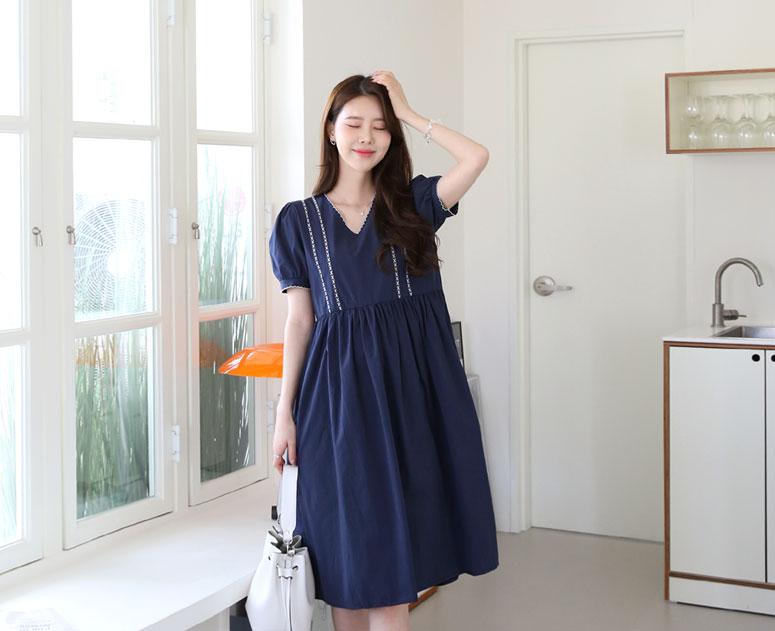 happy10-[*신상5% 기간한정할인*임부복*퓨어물결자수 원피스]♡韓國孕婦裝連身裙