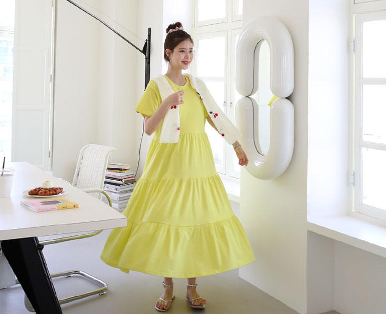 happy10-[*신상5% 기간한정할인*임부복*심플러블 캉캉 원피스]♡韓國孕婦裝連身裙