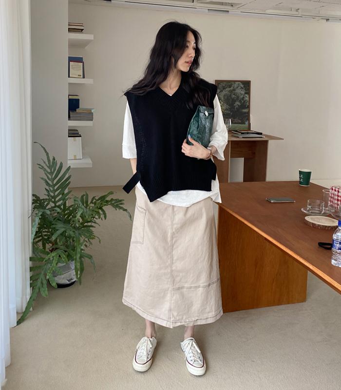 sibuya-[버튼사이드 니트 베스트]♡韓國女裝上衣