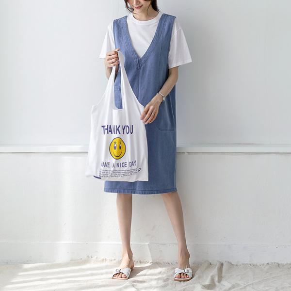 misscandy-[no.20316 포켓포인트 딥브이넥 데님원피스]♡韓國女裝連身裙
