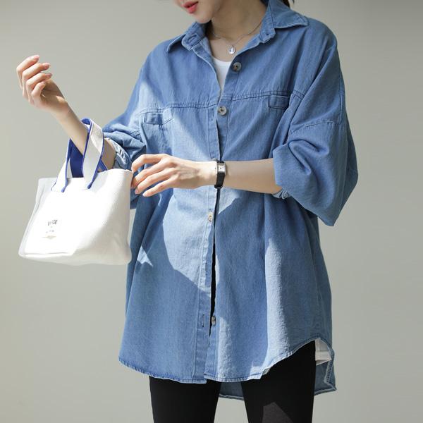 mariangplus-[P] 펜코리 데님 셔츠 P_T9833♡韓國女裝上衣