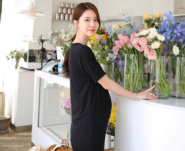 happy10-[임부복*잔잔하게트임 원피스]♡韓國孕婦裝連身裙