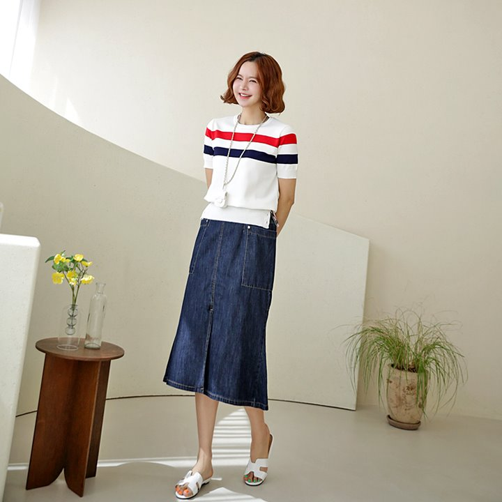 lemite-머메이드 데님스커트(바이오워싱,뒷밴딩)♡韓國女裝裙