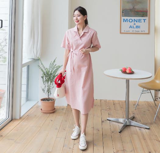 soim-[임부복*몽몽카라 린넨원피스]♡韓國孕婦裝連身裙