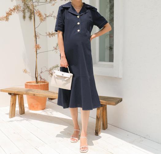 soim-[임부복*모던카라플레어 임산부원피스]♡韓國孕婦裝連身裙