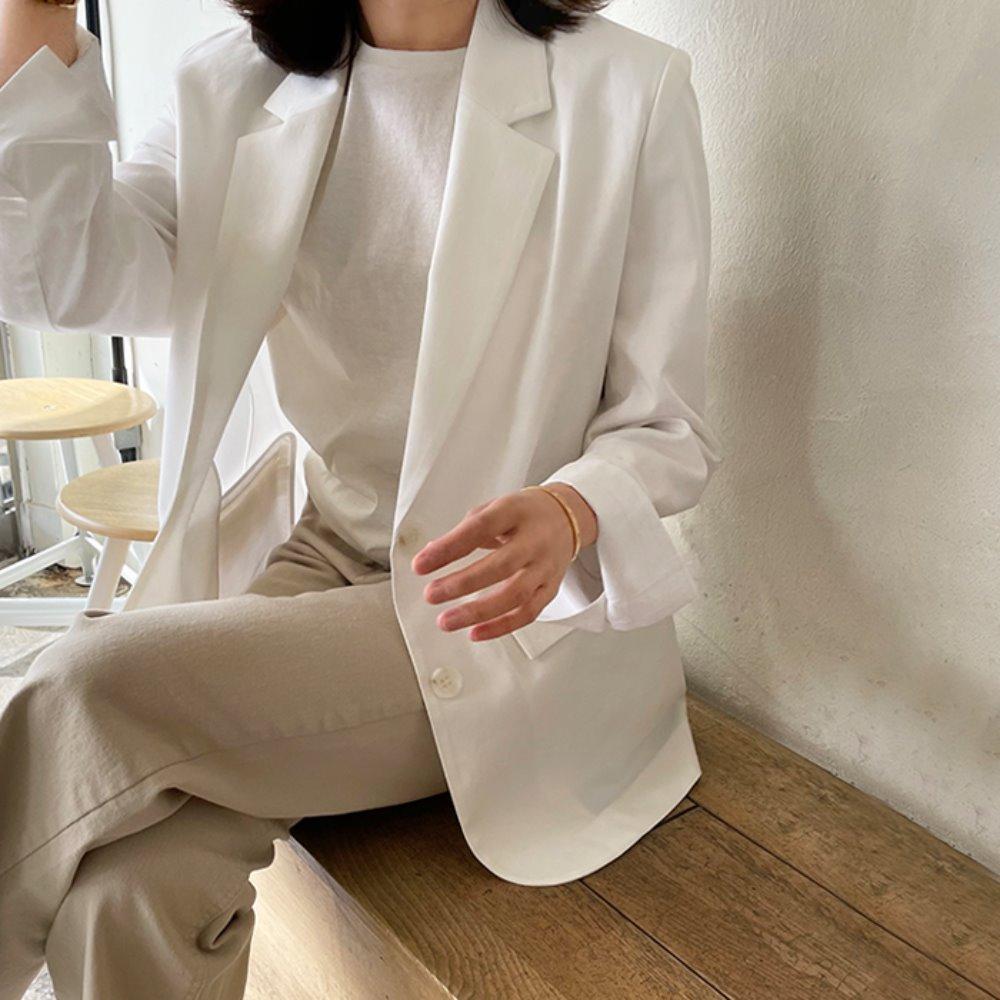littleblack-시즌 아이보리 코튼 자켓♡韓國女裝外套