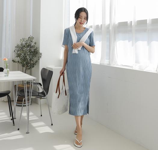 soim-[임부복*물결플리츠 임산부원피스]♡韓國孕婦裝連身裙