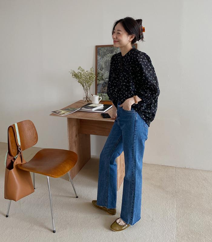 sibuya-[슬림 라인 세미 부츠컷 진]♡韓國女裝褲