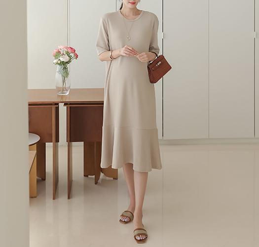 soim-[임부복*미니멀플레어 임산부원피스]♡韓國孕婦裝連身裙