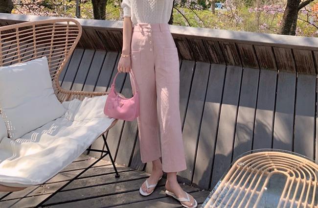 minsshop-(뒷밴딩)투포켓 바이오워싱 린넨 배기팬츠 (주문대박♥)♡韓國女裝褲