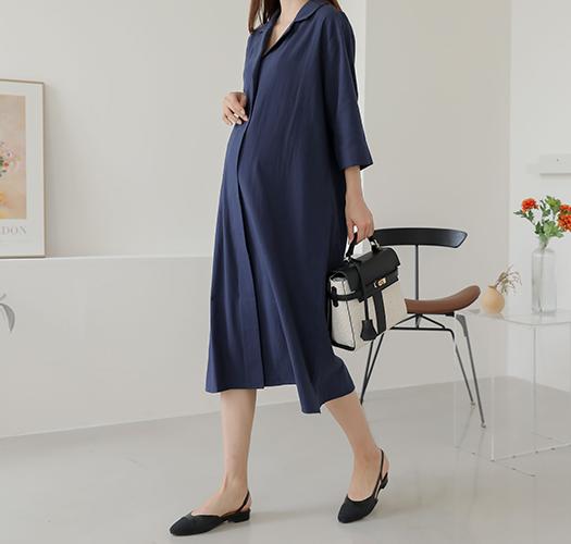 soim-[임부복*보들면카라롤업 임산부원피스]♡韓國孕婦裝連身裙