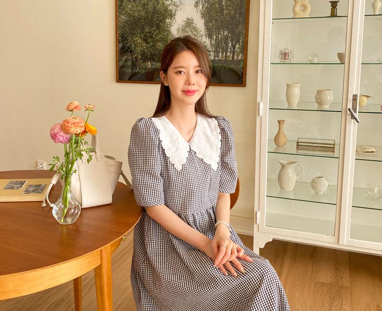 happy10-[*신상5% 기간한정할인*임부복*자수펀칭카라 원피스]♡韓國孕婦裝連身裙
