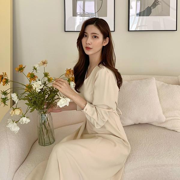 benito-피엔티 브이 롱 플레어 원피스 신상/브이넥/랩/롱/무지/하객/하객룩/베스트/여성/데일리♡韓國女裝連身裙