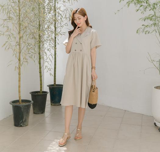 soim-[임부복*더블단추린넨 임산부원피스(수유가능)]♡韓國孕婦裝連身裙