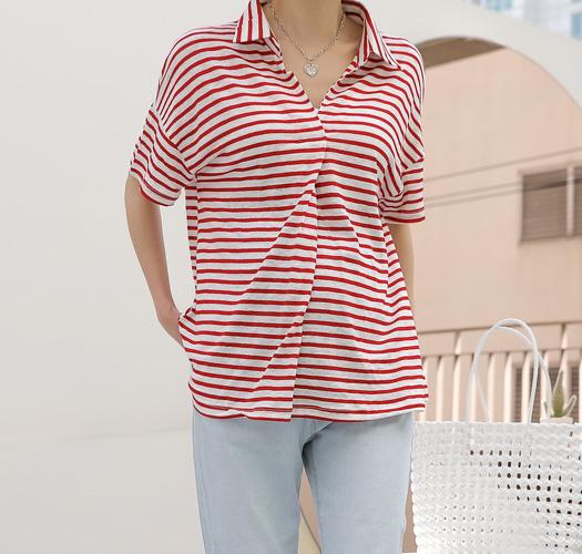 soim-[임부복*린넨카라스트라이프 티셔츠]♡韓國孕婦裝上衣