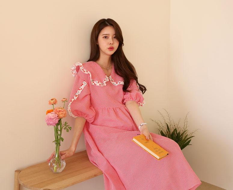 happy10-[*신상5% 기간한정할인*임부복*상큼체리프릴 원피스]♡韓國孕婦裝連身裙