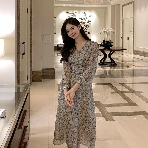 benito-[made] The Edel 마샬 쉬폰 플레어 롱 원피스 신상/플라워/롱/이중/브이넥/v넥/봄/봄신상/베스트/여성/데일리♡韓國女裝連身裙