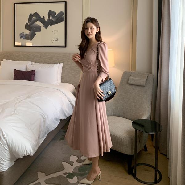 benito-베넬 플레어 원피스 신상/롱/카라/브이넥/베스트/여성/데일리♡韓國女裝連身裙