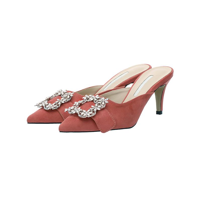 attrangs-sh1244 여성,고급미 넘치는 블링블링 스퀘어 꽃큐빅 디자인의 하이굽 뮬 shoes♡韓國女裝鞋