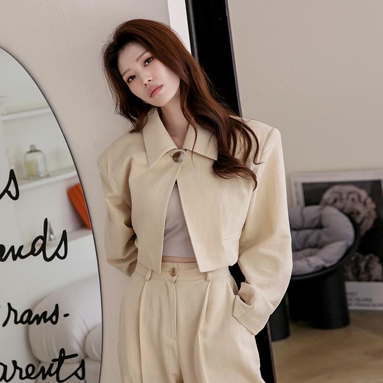 dint-[J1241 그레이스 크롭 원 버튼 린넨 자켓]Document♡韓國女裝外套