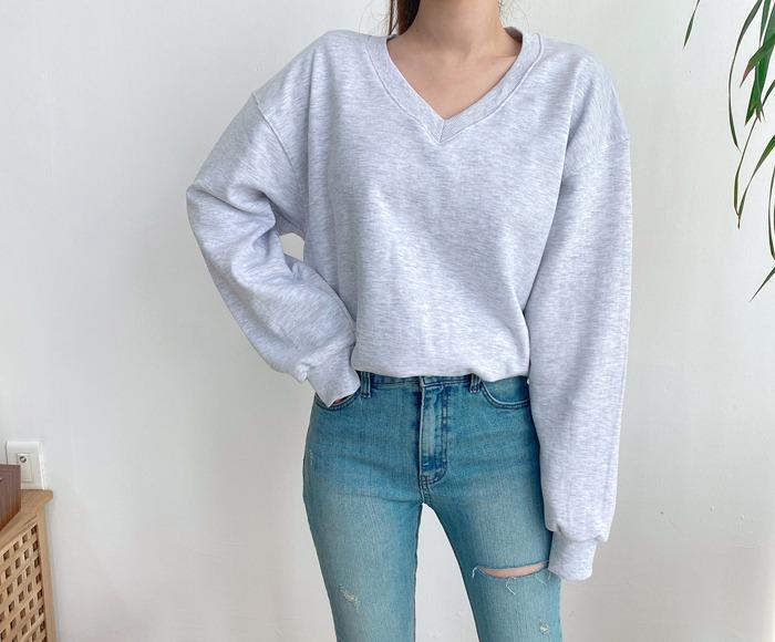 anndaly-브이넥 맨투맨 (3color)♡韓國女裝上衣