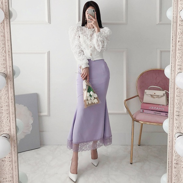 babinpumkin-레어링 밴딩 롱 스커트♡韓國女裝裙