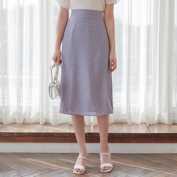 ode-[미니 도트 실키 백밴딩 스커트]♡韓國女裝裙