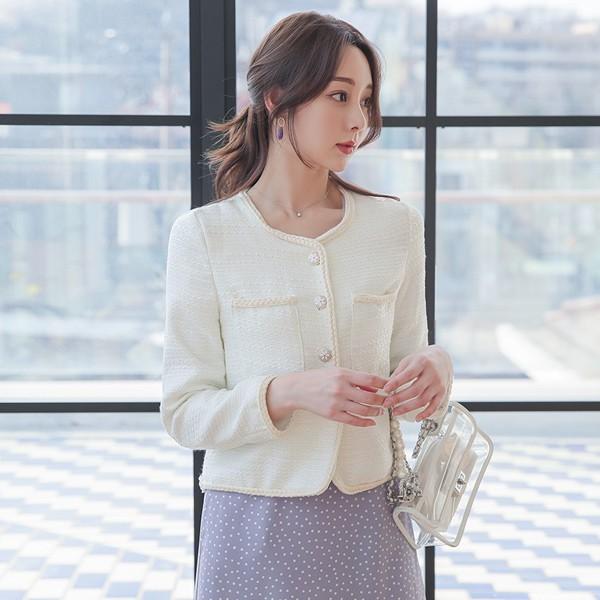 ode-[로프 트리밍 스팽글 트위드 자켓]♡韓國女裝外套
