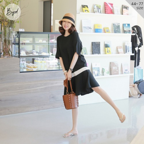 dodry-by-D O10909 COOL링클프리 배색훌ops♡韓國女裝連身裙