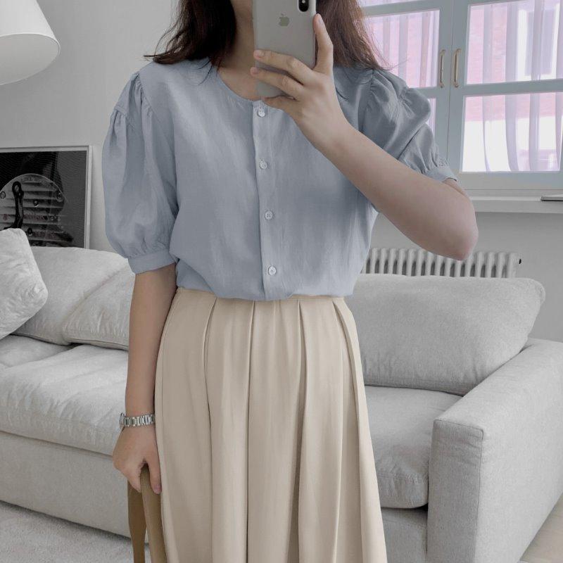 laurenhi-라븐 퍼프 린넨 반팔 블라우스 - 5 color♡韓國女裝上衣