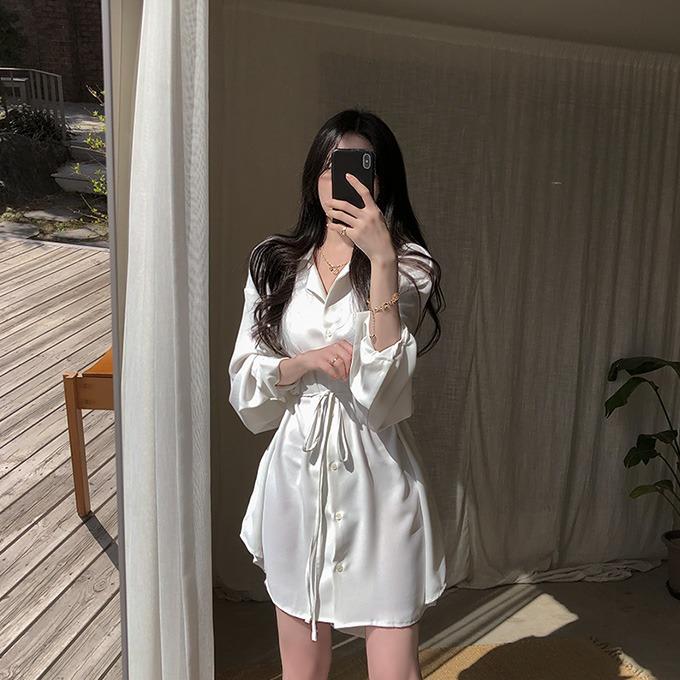 henique-환상적인 순간 스탠 카라 허리끈 셔츠 블라우스 미니 원피스 (아이보리/민트/베이지/블랙)♡韓國女裝連身裙