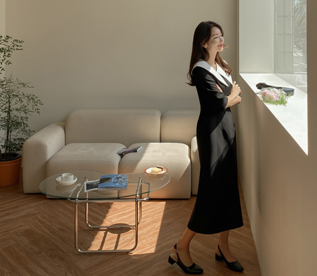 white-fox-[페미닌빅카라브이넥원피스]♡韓國女裝連身裙