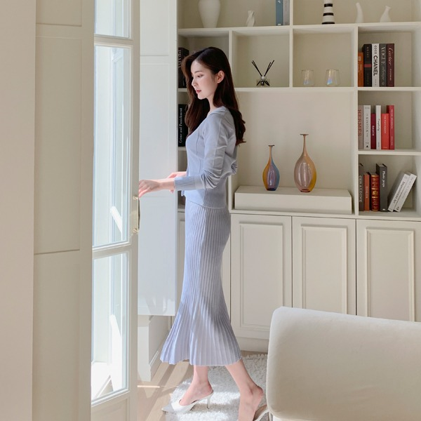benito-쉐이크 니트 가디건 스커트 세트신상/베스트/세트/투피스/니트/브이넥/롱/프릴/여성/데일리♡韓國女裝套裝
