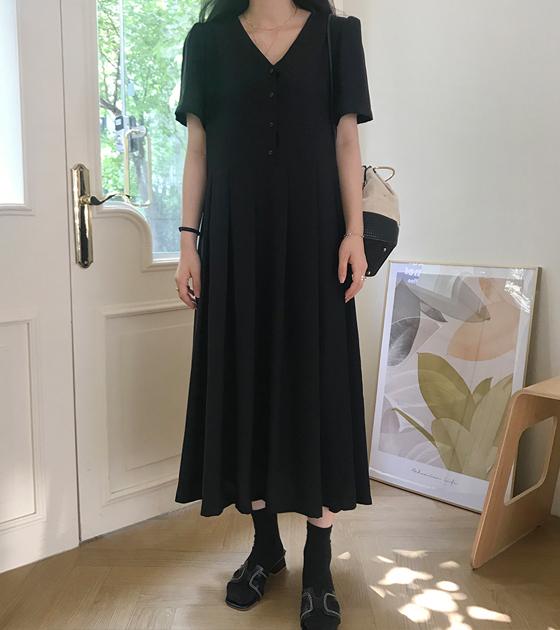 onlymoon-[수이, 플리츠 롱원피스-ver.블랙]♡韓國女裝連身裙