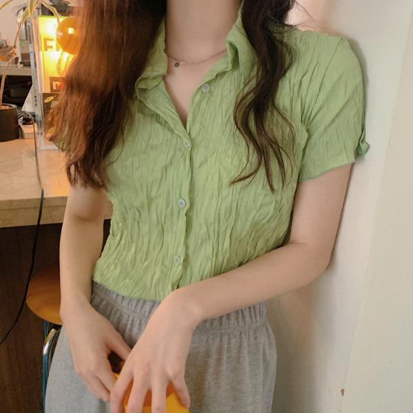 heylady-비데이 링클 크롭셔츠♡韓國女裝上衣