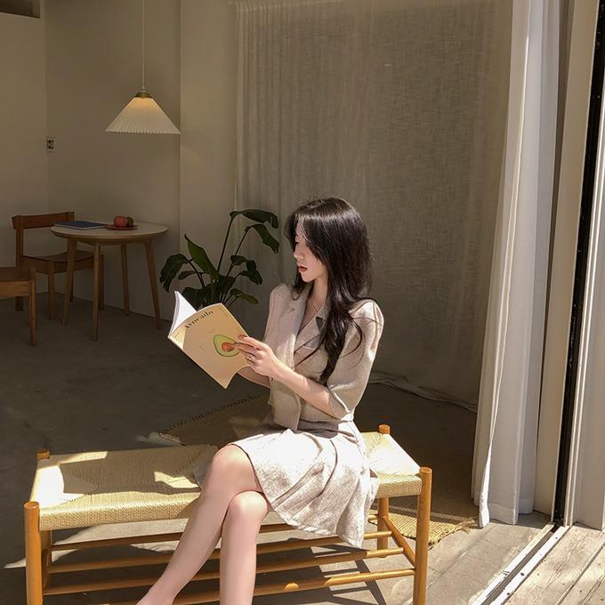 henique-신사숙녀 린넨 크롭 반팔 자켓 미니 스커트 투피스 세트 별도구매 (베이지/블랙)♡韓國女裝套裝