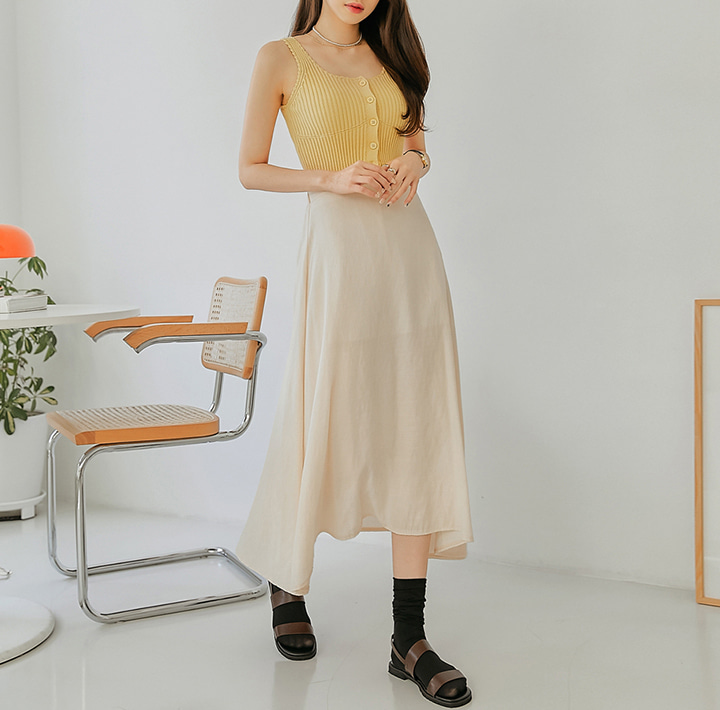 common-unique--아넬 버튼 골지 니트 슬리브리스♡韓國女裝上衣