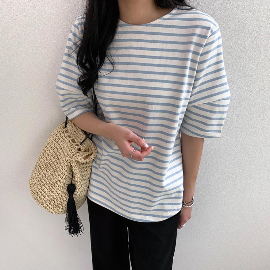 miamasvin-위클리 스트라이프 티셔츠♡韓國女裝上衣