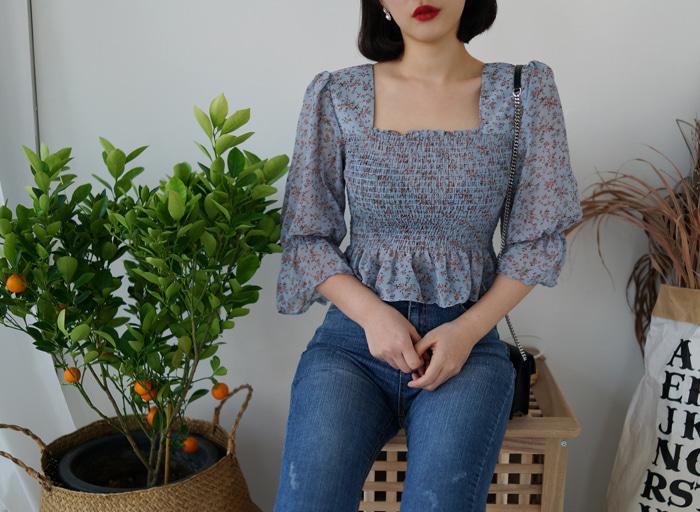anndaly-꽃스퀘어 쉬폰 top&bl (2color)♡韓國女裝上衣