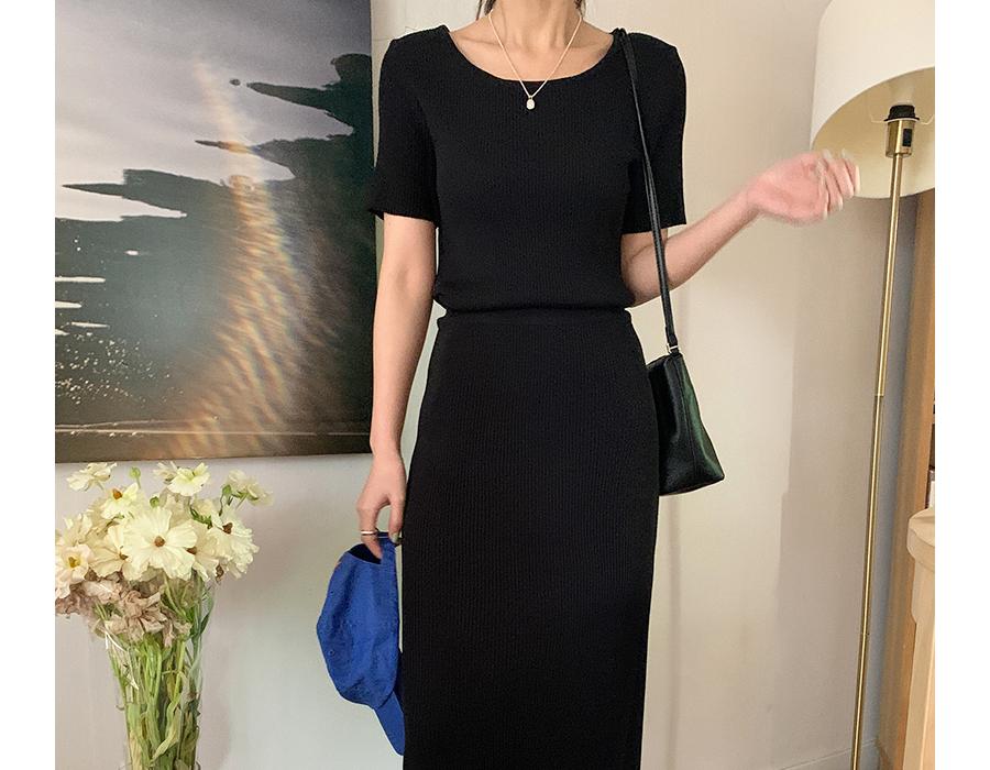 frombeginning-슬림반팔니트&골지롱스커트SET (3color)♡韓國女裝裙