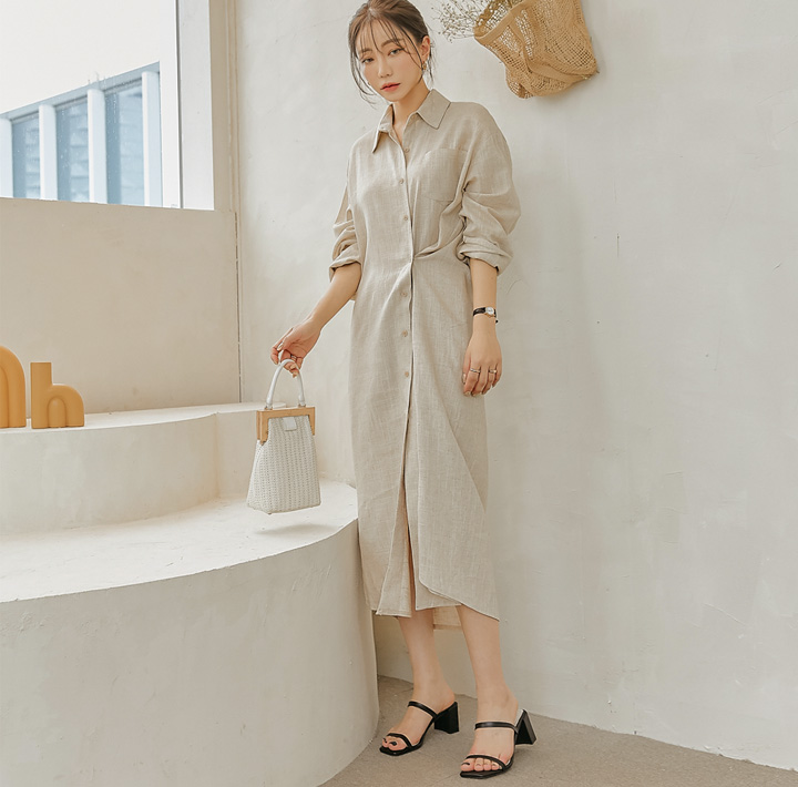 common-unique--다렌 린넨 2 웨이 카라 롱 원피스♡韓國女裝連身裙