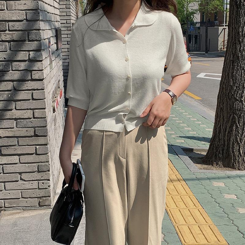 laurenhi-딜론 카라 버튼 반팔 가디건 - 3 color♡韓國女裝外套