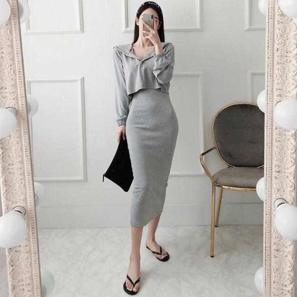 babinpumkin-홈케어 세트(후드+원피스)♡韓國女裝套裝