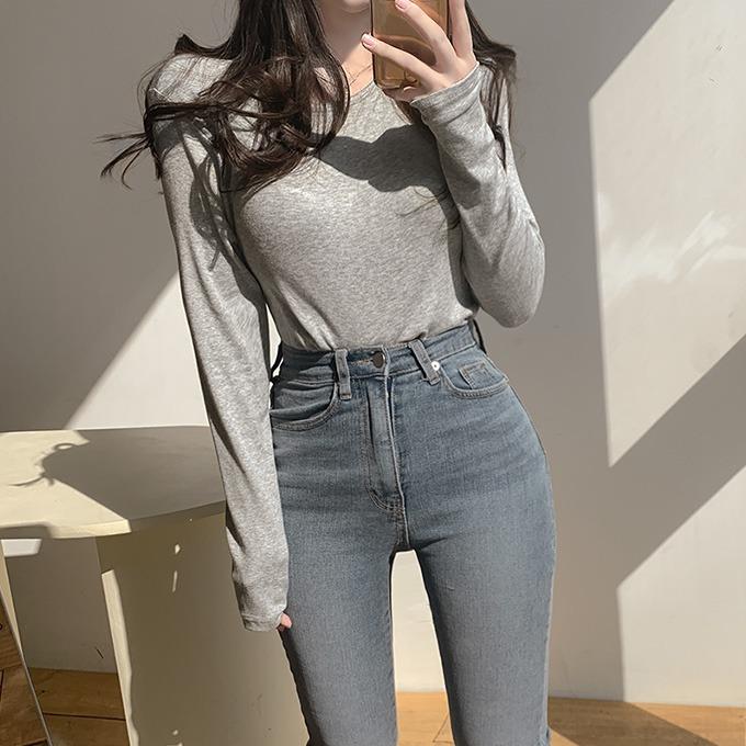 henique-부들부들 골지 라운드 긴팔 티셔츠 (그레이/소라/민트/핑크/라벤더/아이보리/블랙)♡韓國女裝上衣