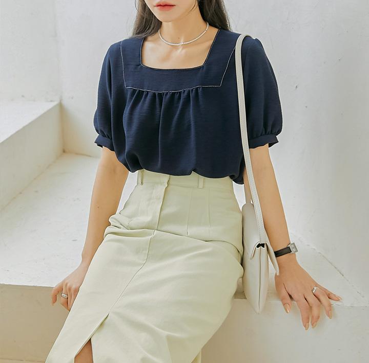 common-unique--아베론 스티치 스퀘어 넥 1/2 블라우스♡韓國女裝上衣