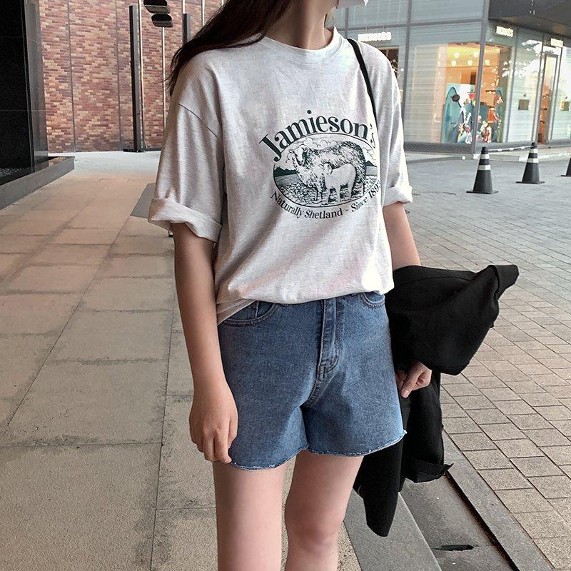 laurenhi-라올 프린팅 라운드 반팔 티셔츠 - 3 color♡韓國女裝上衣