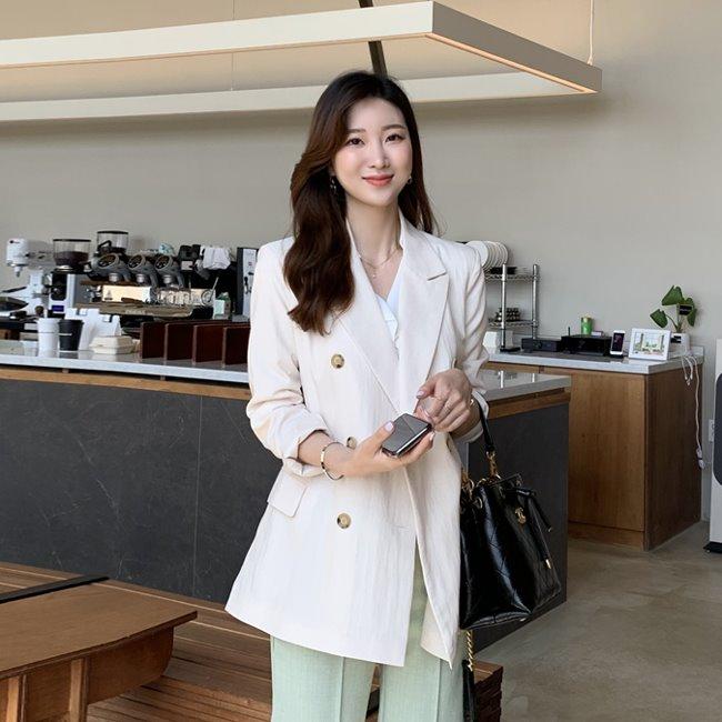 likeher-브랜디 더블버튼 자켓jk♡韓國女裝外套